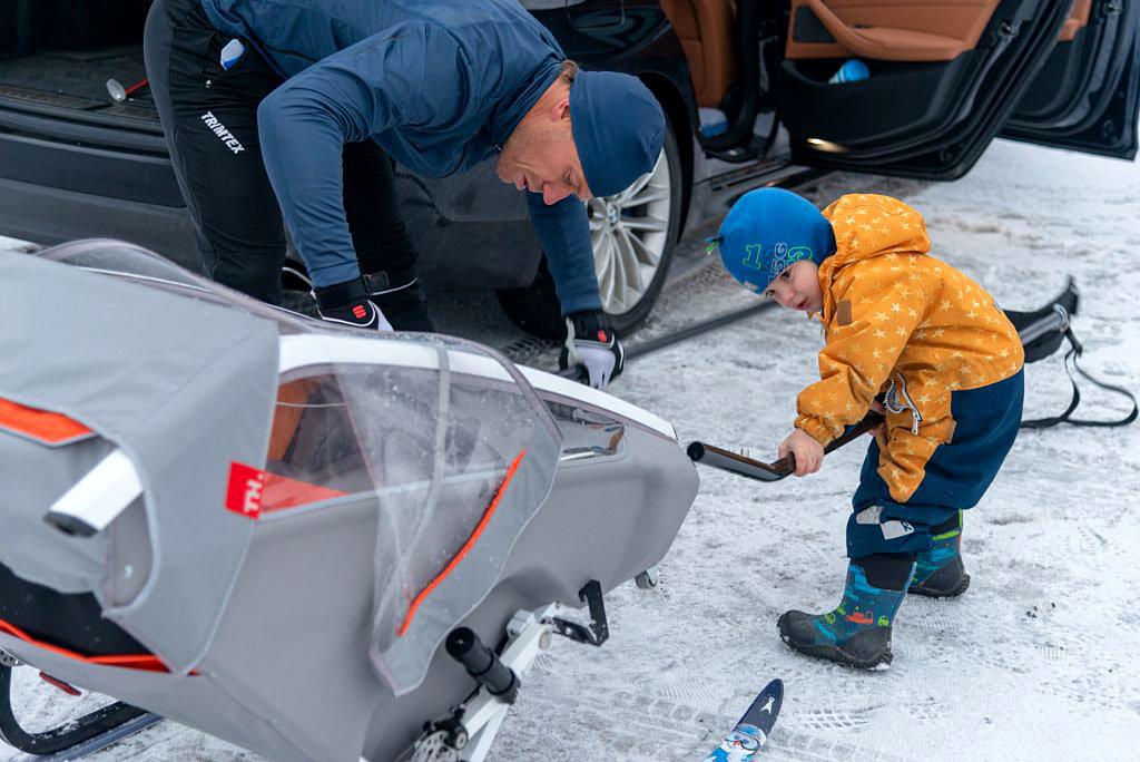 kid racer twin sykkelvogn forvandles raskt til fantastisk pulk