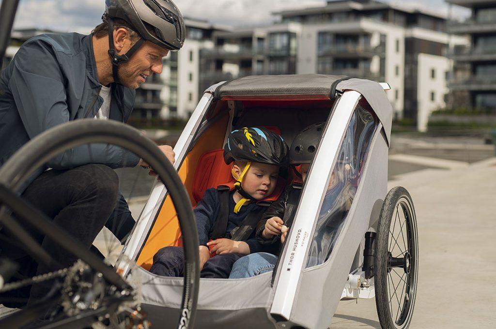 sykkelhenger og sykkelvogn for to barn fra thor hushovd